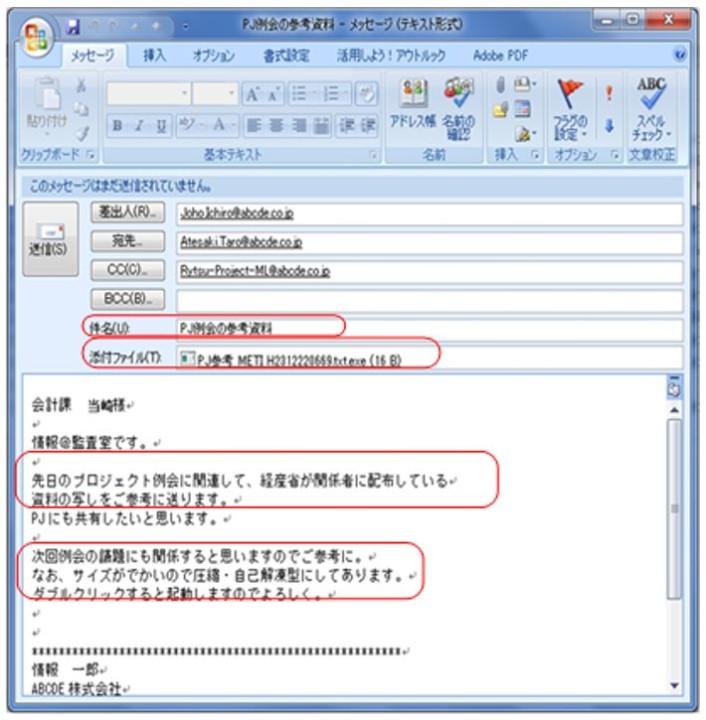 送信メールの添付ファイル